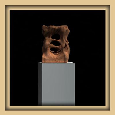 Digitale Skulptur, Walnuss, Ansicht drei. Kunst von Marcus Löhrer auf der Aachener Kunstroute 2016