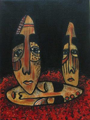 Layali Alawad, Acryl auf Leinwand, Portrait mythologique 1