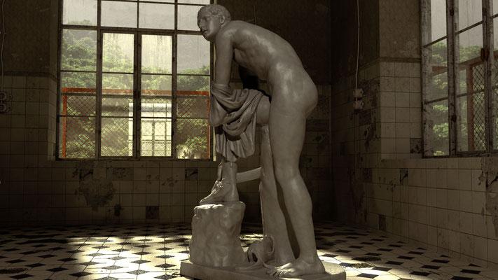 Statue in verlassenem Gebäude, lost spaces auf der Aauchener Kunstroute 2016
