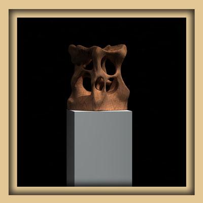 Digitale Skulptur, Walnuss, Ansicht vier. Kunst von Marcus Löhrer auf der Aachener Kunstroute 2016