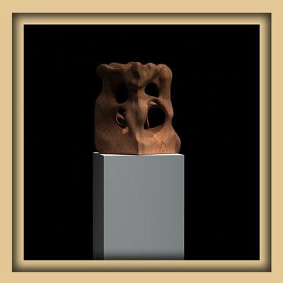 Digitale Skulptur, Walnuss, Ansicht zwei . Kunst von Marcus Löhrer auf der Aachener Kunstroute 2016