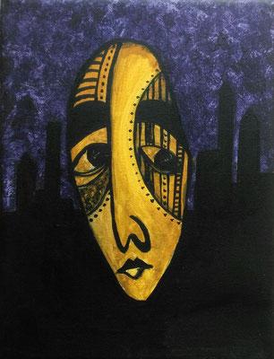 Layali Alawad, Acryl auf Leinwand, Portrait mythologique 3
