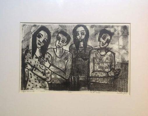 Layali Alawad, Litografie, vier Figuren 1