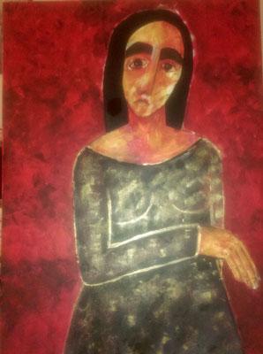 Layali Alawad, Acryl auf Leinwand, Portrait 6