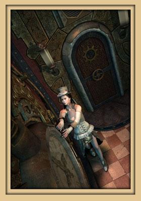 Viktorianische Frau dreht an Steampunkuhr. Digitale Kunst von Marcus Löhrer auf der Aachener Kunstroute 2016 in der Galerie Frutti dell'Arte und in der Ausstelung Spektrum 2016 im der Aula Carolina