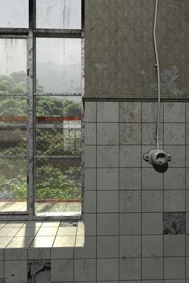 Ausblick aus Fenster, lost spaces auf der Aauchener Kunstroute 2016