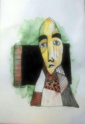 Layali Alawad, Aquarell und Tusche, Portrait 1