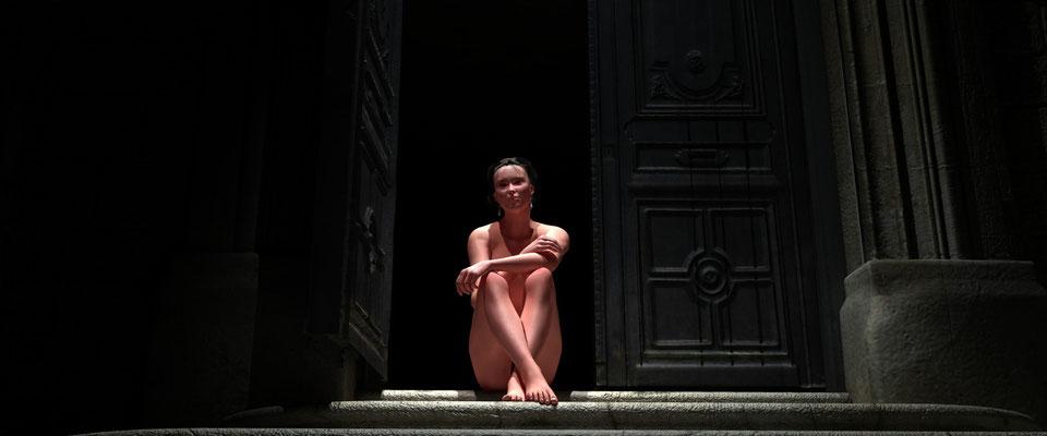 Sitzender weiblicher Akt in altem Toreingang, 1. Kunst von Marcus Löhrer auf der Aachener Kunstroute 2017 in der Galerie Frutti dell Arte. Auch in der Aula Carolina