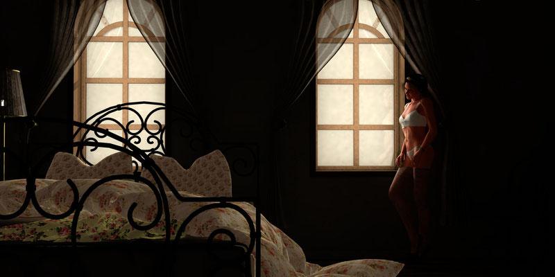 Akt am Fenster, romantischer Akt auf der Aachener Kunstroute 2019