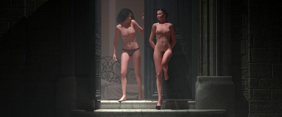 Weiblicher Akt, zweiFrauen in altem Toreingang, 4. Kunst von Marcus Löhrer auf der Aachener Kunstroute 2017 in der Galerie Frutti dell Arte. Auch in der Aula Carolina