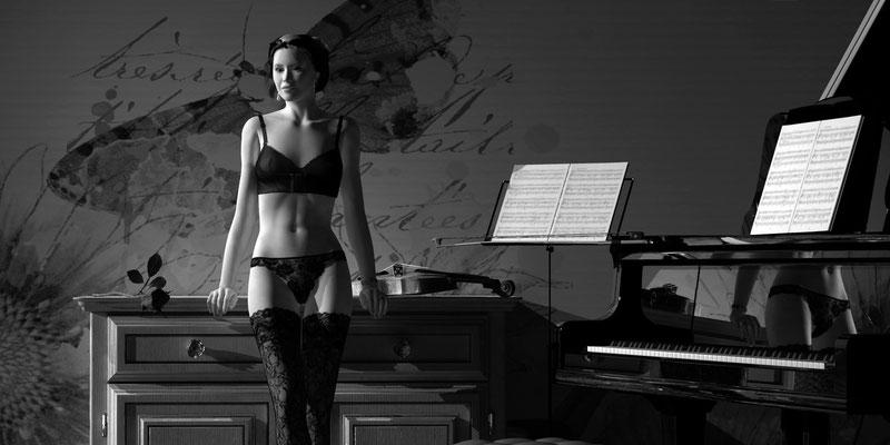 Akt vor Komode Schwarz-Weiß, romantischer Akt auf der Aachener Kunstroute 2019