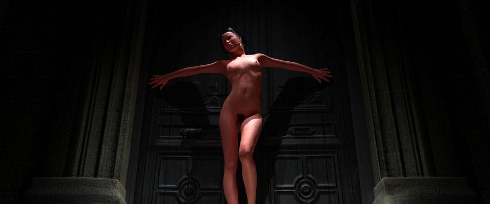 Stehender weiblicher Akt in altem Toreingang, 2. Kunst von Marcus Löhrer auf der Aachener Kunstroute 2017 in der Galerie Frutti dell Arte. Auch in der Aula Carolina