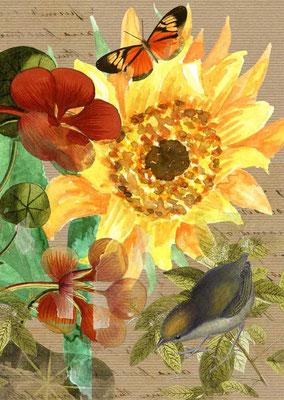Postkarte von Aquarell mit Blumenmotiv-3, Zu erwerben auf der Aachener Kunstroute 2015 am 25. 26. und 27. September in der Galerie Frutti dell'Arte.