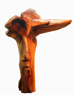 Skulptur Holz Kopf 2. Künstler Ibrahim Alawad, Aachener Kunstroute 2019
