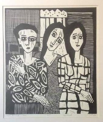 Layali Alawad, Linolschnitt, Familie 3