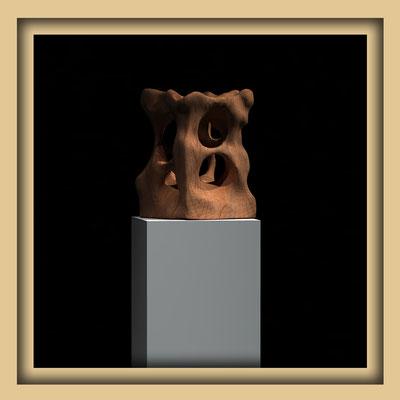 Digitale Skulptur, Walnuss, Ansicht eins. Kunst von Marcus Löhrer auf der Aachener Kunstroute 2016
