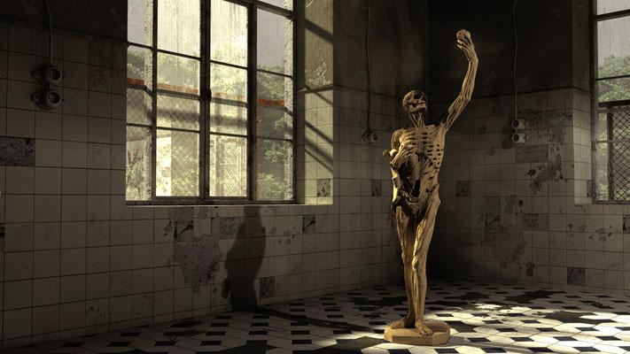Verwitterte Statue in verfallenem Gebäude, lost spaces auf der Aauchener Kunstroute 2016