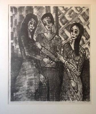 Layali Alawad, Litografie, drei Figuren 3