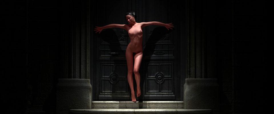 Stehender weiblicher Akt in altem Toreingang, 1.Kunst von Marcus Löhrer auf der Aachener Kunstroute 2017 in der Galerie Frutti dell Arte. Auch in der Aula Carolina