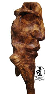 Skulptur Holz Kopf 3. Künstler Ibrahim Alawad, Aachener Kunstroute 2019