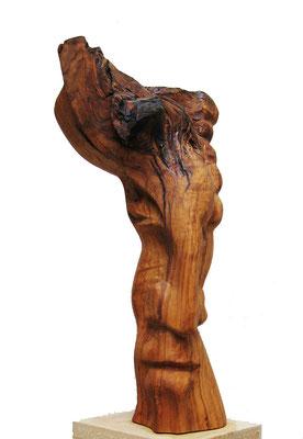 Skulptur Holz Kopf 1. Künstler Ibrahim Alawad, Aachener Kunstroute 2019