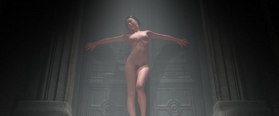 Stehender weiblicher Akt in vernebeltem, alten Toreingang, 2. Kunst von Marcus Löhrer auf der Aachener Kunstroute 2017 in der Galerie Frutti dell Arte. Auch in der Aula Carolina