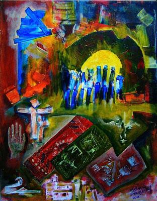 Ibrahim Alawad, Malerei, Acryl auf Leinwand 2 , Aachener Kunstroute 2019