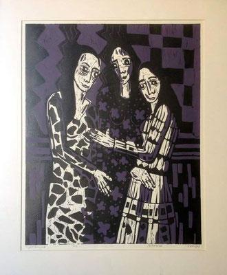 Layali Alawad, Linolschnitt, Familie 1