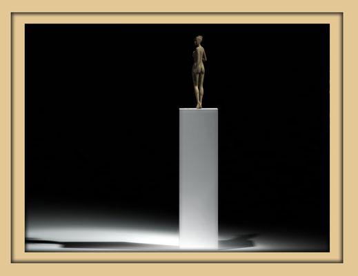 Digitale Holzskulptur auf der Aachener Kunstroute 2016 in der Galerie Frutti dell'Arte, Station 16 in der Aula Carolina, Ansicht total, weit
