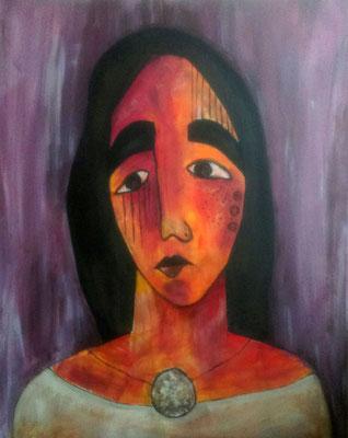 Layali Alawad, Acryl auf Leinwand, Portrait 4