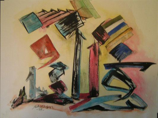 Ibrahim Alawad, Kaligrafie 6, Aachener Kunstroute 2019