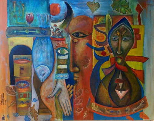 Ibrahim Alawad, Malerei, Acryl auf Leinwand 7 , Aachener Kunstroute 2019