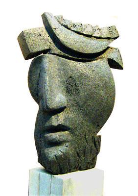 Skulptur Basalt Kopf 2, Künstler Ibrahim Alawad, Aachener Kunstroute 2019
