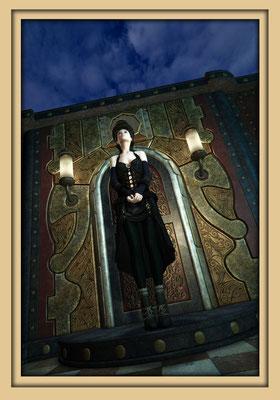 Frau vor Steampunktür. Digitale Kunst von Marcus Löhrer auf der Aachener Kunstroute 2016 in der Galerie Frutti dell'Arte und in der Ausstelung Spektrum 2016 im der Aula Carolina