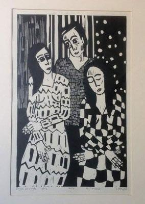 Layali Alawad, Linolschnitt, Familie 4