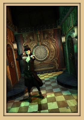 Halle mit Frauenfigur und Steampunkuhr. Digitale Kunst von Marcus Löhrer auf der Aachener Kunstroute 2016 in der Galerie Frutti dell'Arte und in der Ausstelung Spektrum 2016 im der Aula Carolina