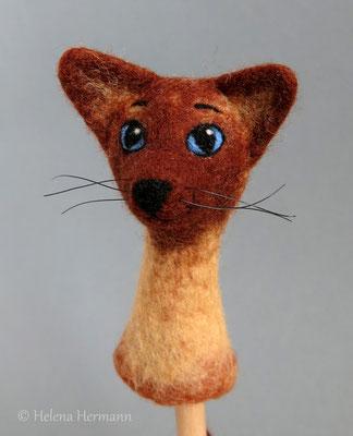 Gefilzte Fingerpuppe, Katze 2016