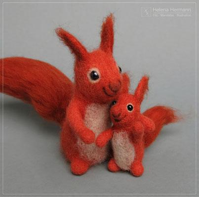 Eichhörnchen-Familie, nadelgefilzt, 2019