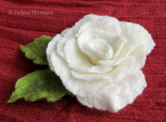Gefilzte Rose, weiß