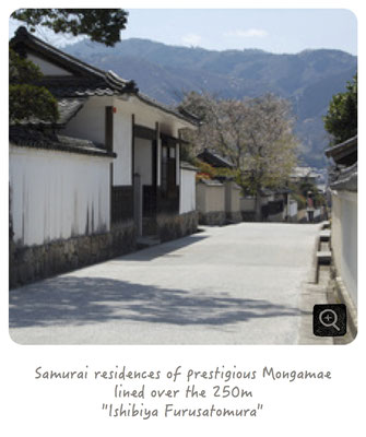 "Samurai residences of prestigious Mongamae lined over the 250m ""Ishibiya Furusatomura""."
