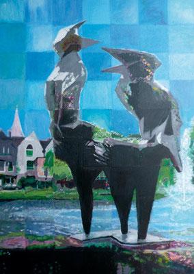"""118_Bürger malen ihre Stadt 2009 - Skulptur """"Streithähne"""" von Kuno Lange u. Klaus Jost"""