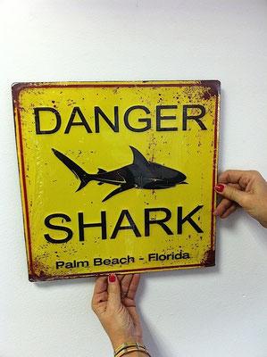 Metallschild Danger shark
