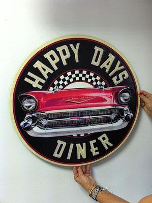 Metallschild Happy days diner