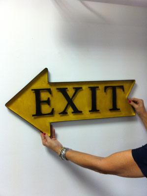 Metallschild Exit nach links in gelb