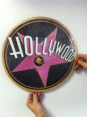 Metallschild Hollywood