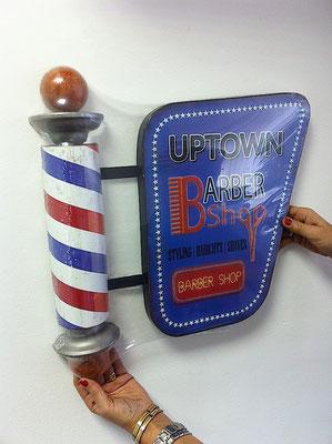 Metallschild Barber shop uptown
