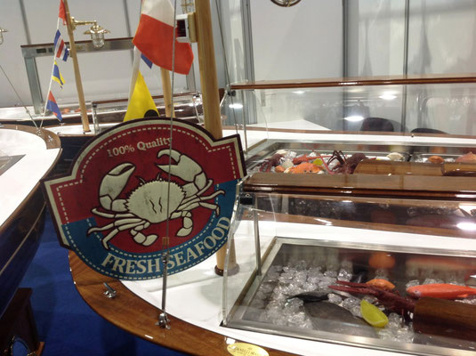 Werbeschild aus Metall für Seafood