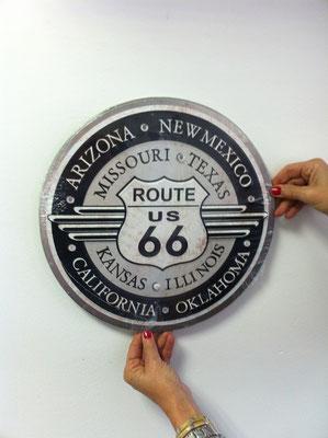 Metallschild Route 66 Nostalgie