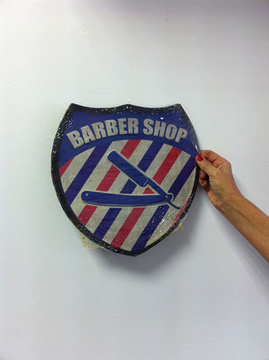 Metallschild Barbershop symbol