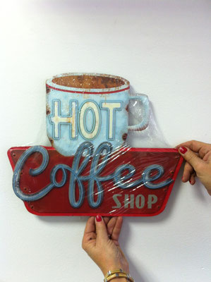 Metallschild Hot Coffee